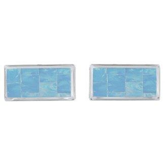 Washed Blue Siding Silver Finish Cufflinks