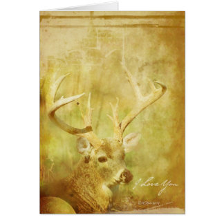 Washed Deer- Romantic greeting card