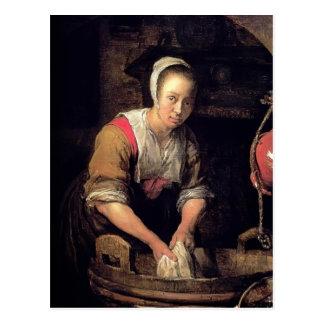 Washerwoman by Gabriel Metsu Postcards