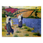 Washerwomen at the Laita River near Pouldu Poster