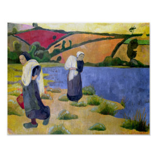 Washerwomen at the Laita River near Pouldu Poster