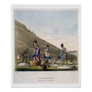 Washerwomen, Calton Hill, Edinburgh, from 'Airy No Poster