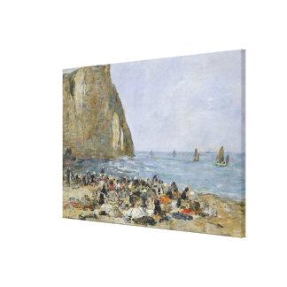 Washerwomen on the beach of Etretat, 1894 Canvas Print