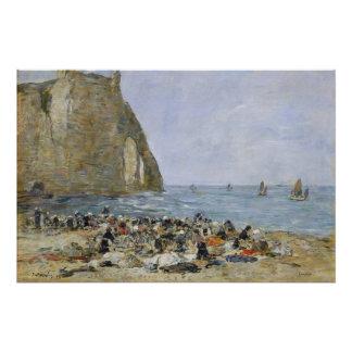 Washerwomen on the beach of Etretat, 1894 Poster