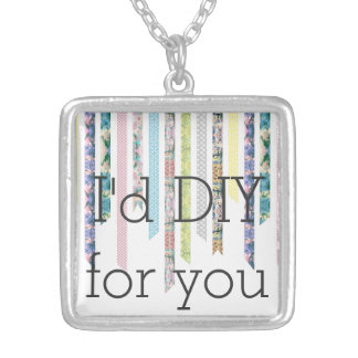 Washi Tape | I would DIY for you | Crafts Hobby Square Pendant Necklace