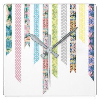 Washi Tape Pastels | DIY & Crafts | Ribbon Strips Square Wall Clock
