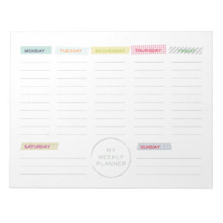 Washi Tape Weekly Planner Note Pad