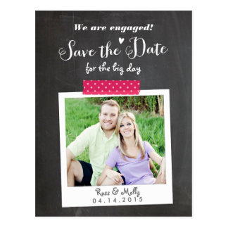 Washi Taped Save the Date Postcard
