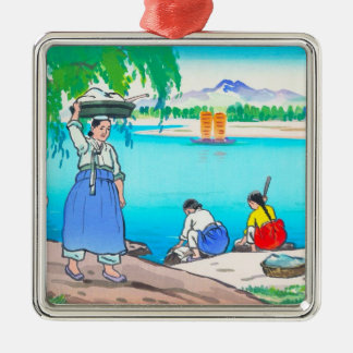 Washing At The Bank- women doing laundry Metal Ornament