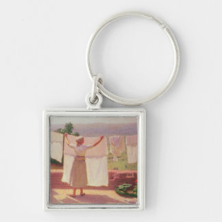 Washing in the Sun Silver-Colored Square Keychain