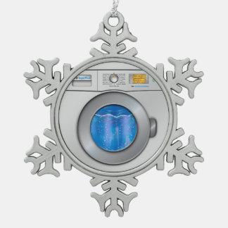 Washing Machine Snowflake Pewter Christmas Ornament