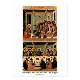 Washing Of The Feet And The Last Supper By Duccio Postcard