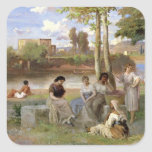 Washing on the Tiber, 1864 Square Stickers