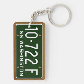 Washington 1955 Vintage License Plate Keychain Rectangle Acrylic Key Chain