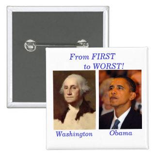 Washington al cuadrado de Obama Pin Cuadrado