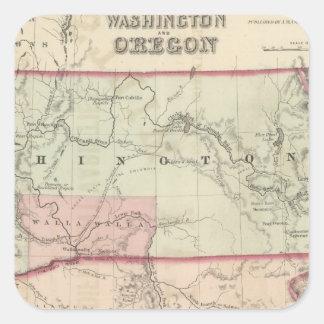 Washington and Oregon and Idaho and Montana Square Sticker