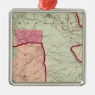 Washington and Oregon Metal Ornament