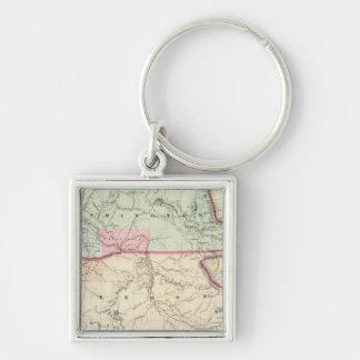 Washington And Oregon Silver-Colored Square Keychain
