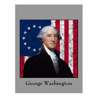 Washington and The American Flag Post Card