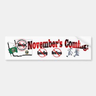 Washington Anti ObamaCare – November's Coming! Bumper Sticker
