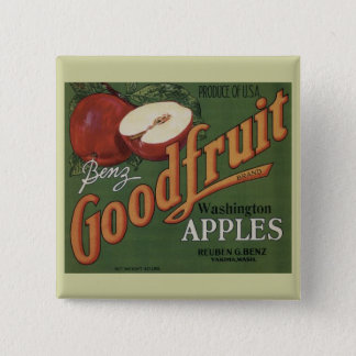 Washington Apples Fruit Crate Label Pinback Button