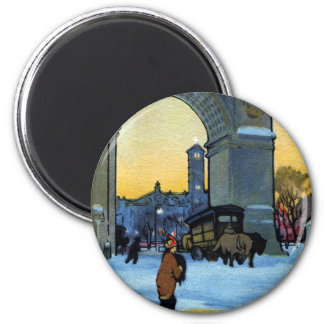 Washington Arch at Winter Twilight Fridge Magnets