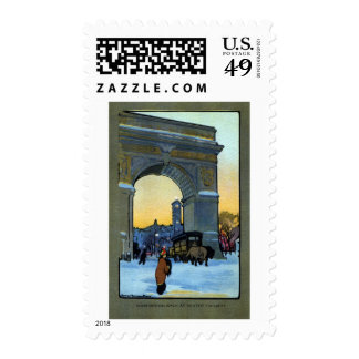Washington Arch at Winter Twilight Postage Stamps