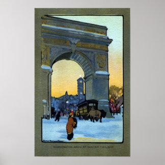 Washington Arch at Winter Twilight Poster