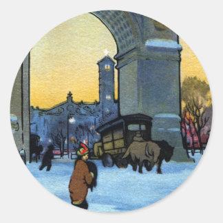 Washington Arch at Winter Twilight Stickers
