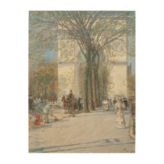 Washington Arch, Spring by Childe Hassam Wood Wall Art
