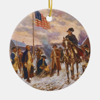 Washington at Valley Forge by Edward P. Moran Double-Sided Ceramic Round Christmas Ornament