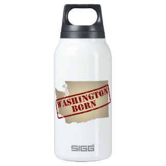Washington Born - Stamp on Map Insulated Water Bottle