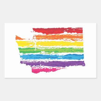washington color strokes rectangular sticker