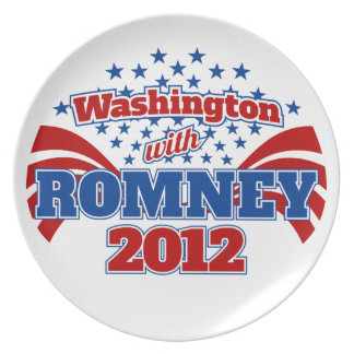 Washington con Romney 2012 Plato Para Fiesta