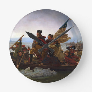 Washington Crossing the Delaware by Emanuel Leutze Round Wallclocks