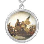 Washington Crossing the Delaware by Emanuel Leutze Round Pendant Necklace