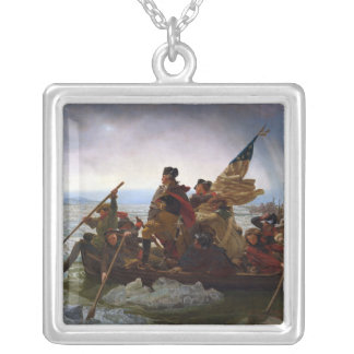 Washington Crossing the Delaware Silver Plated Necklace
