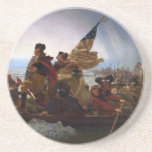"Washington Crossing the Delaware - US Vintage Art Drink Coaster<br><div class=""desc"">Vintage American History painting. General George Washington Crossing the Delaware. Emanuel Gottlieb Leutze. washington crossing the delaware, george washington, revolutionary war, general washington, president washington, american revolution, historical, American Revolution,  founding father,  Historical,  revolutionary war</div>"