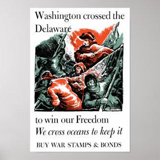 Washington cruzó el Delaware -- WW2 Póster