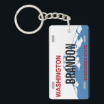 "Washington custom license plate keychain<br><div class=""desc"">WA license plate design</div>"