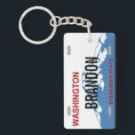 "Washington custom license plate keychain<br><div class=""desc"">WA license plate design</div>"