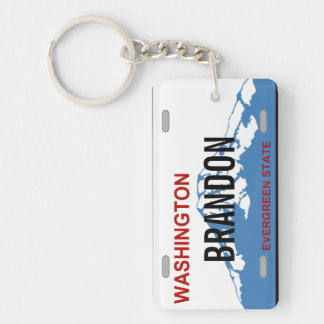 Washington custom license plate keychain
