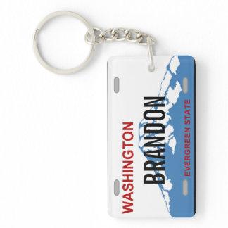 Washington custom license plate keychain