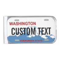 Washington custom license plate money clip