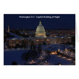 Washington D.C. Capitol Building in Winter Night Card