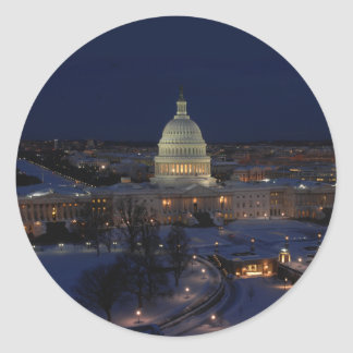 Washington D.C. Capitol Building in Winter Night Classic Round Sticker