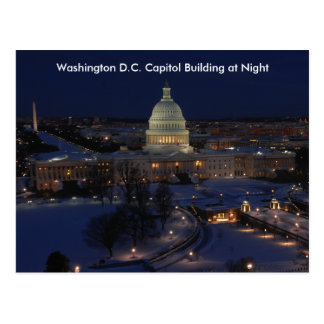 Washington D.C. Capitol Building in Winter Night Postcard