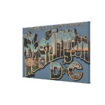 Washington D. C. - Large Letter Scenes Gallery Wrapped Canvas