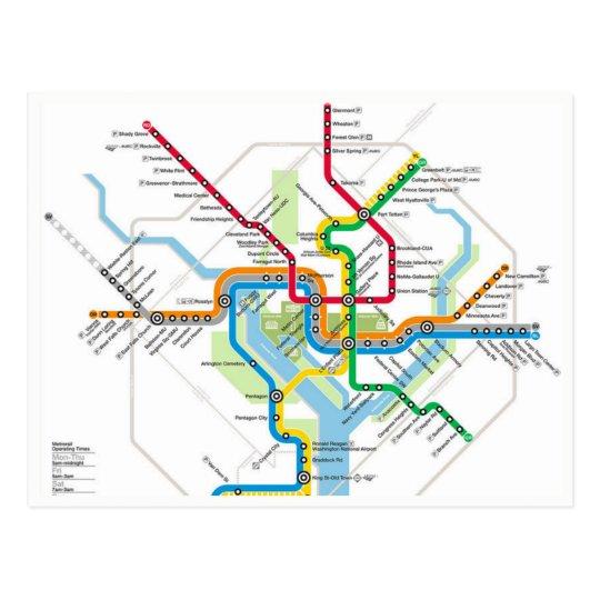 Washington Metro Subway Map.Washington D C Metro Subway Map Postcard Zazzle Com