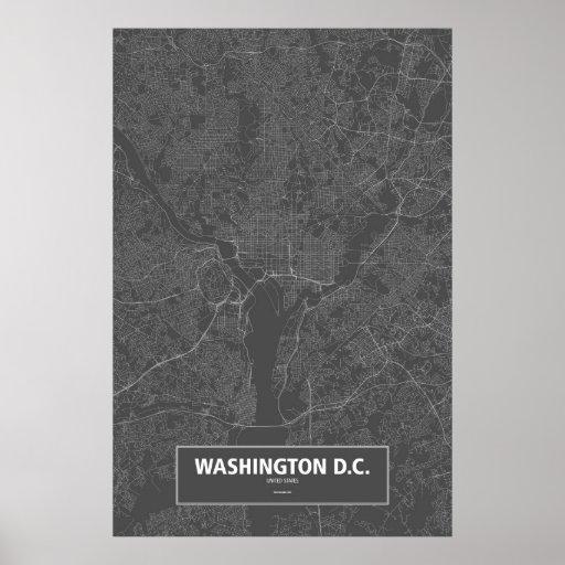 Washington D.C., United States (white on black) Poster